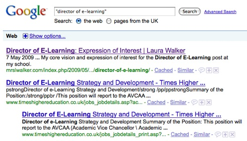 Google search results for 'Director of E-Learning'