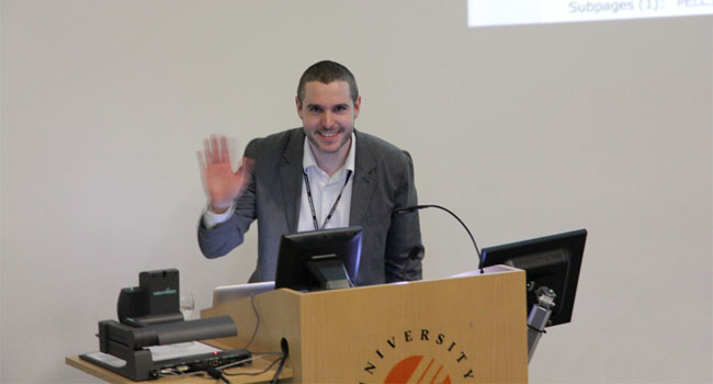 Doug presenting at the Plymouth e-Learning Conference 2011